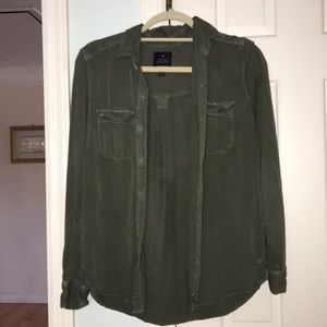 Button up army green light jacket